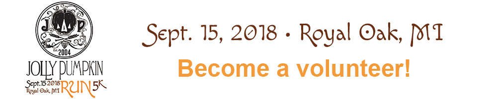 2018 Jolly Pumpkin Run Volunteer Signup